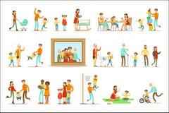 Famille heureuse faisant photo environnante de portrait d'illustration de choses ensemble la grande illustration de vecteur
