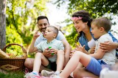 Famille heureuse gaie pique-niquant un beau jour images stock