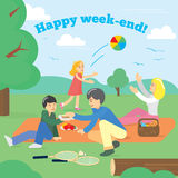 Famille heureuse le week-end Pique-nique de famille Pique-nique de partie, nourriture, été Illustration de vecteur image stock