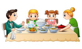 Famille heureuse mangeant le dîner ensemble sur la table de salle à manger illustration libre de droits