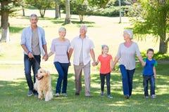 Famille heureuse marchant en parc avec leur chien Photographie stock