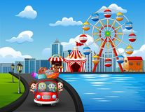 Famille heureuse montant une voiture pour partir en vacances illustration stock