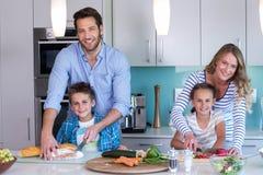 Famille heureuse préparant des légumes ensemble Image stock