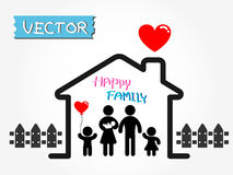 Famille heureuse (père, mère, nourrisson, fils, fille dans la maison heureuse) Photos stock