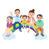 Famille heureuse s'asseyant sur l'arc-en-ciel Photo libre de droits