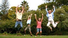 Famille heureuse sautant ensemble banque de vidéos