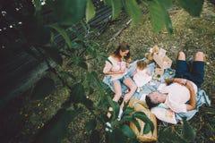 Famille heureuse sur la pelouse en parc Photographie stock libre de droits