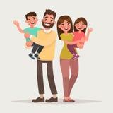 Famille heureuse sur le fond d'isolement Enfants de prise de parents en Th Image stock