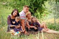 Famille heureuse sur le pique-nique en parc d'été Images libres de droits
