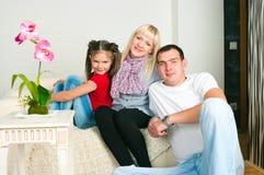 Famille heureux attendant le deuxième enfant Photos libres de droits