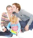 Famille heureux au-dessus de blanc Photo libre de droits