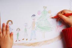 Famille heureux au temps de Noël Images libres de droits
