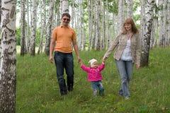 Famille heureux aux bois Photographie stock