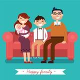 Famille heureux avec la chéri nouveau-née illustration de vecteur