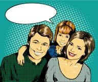 Famille heureux avec le gosse Dirigez l'illustration dans le rétro style comique d'art de bruit Photos stock