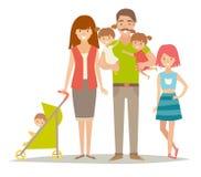 Famille heureux Famille avec des enfants de jumeaux Famille de personnages de dessin animé Famille : mère, père, frère, soeurs, j Image libre de droits