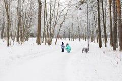 Famille heureux La fille de mère et d'enfant un hiver marchent en nature Image libre de droits