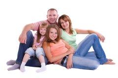 Famille heureux. Mère, père et deux descendants Photo stock