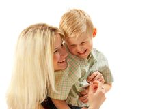 Famille heureux : Maman et fils. Images libres de droits