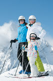 Famille heureux sur le ski Images libres de droits