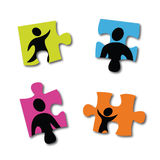 Famille3. Illustration about stepfamily and divorce, children and parents Stock Image