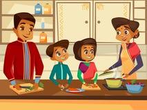 famille indienne de bande dessinée au concept de cuisine illustration libre de droits