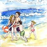 Famille jouant ainsi que la boule sur l'auberge de plage par jour d'été ensoleillé illustration de vecteur