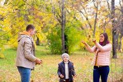 Famille jouant avec le parc d'automne de feuilles Images stock