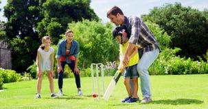 Famille jouant le cricket en parc banque de vidéos