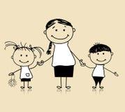 Famille, mère et enfants heureux, croquis de dessin Photo libre de droits