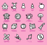 Famille, maison, graphismes de gosses réglés Photo stock