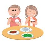 Famille, mangeant Illustration de Vecteur