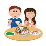 Famille, mangeant Photos libres de droits