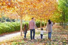 Famille marchant en parc d'automne photos stock