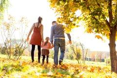 Famille marchant en parc d'automne au coucher du soleil photographie stock
