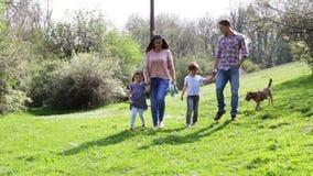 Famille marchant leur chien banque de vidéos