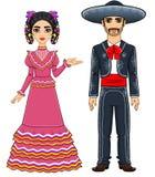 Famille mexicaine dans des vêtements de fête traditionnels image libre de droits