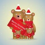 Famille mignonne de bande dessinée des ours bruns et du chèque-cadeau pour la saison d'hiver images stock