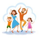 Famille mignonne de dessin animé Image libre de droits