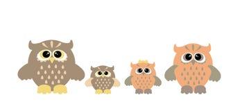 Famille mignonne de hibou Image libre de droits