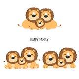 Famille mignonne de lion avec la pose différente illustration stock