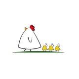 Famille mignonne de poulet de bande dessinée photo libre de droits