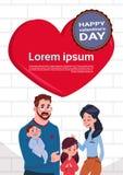 Famille mignonne de valentines de carte heureuse de jour au-dessus des parents rouges de forme de coeur avec la bannière de deux  illustration libre de droits