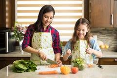 Famille mignonne faisant une salade à la maison Photo stock