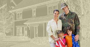 Famille militaire de soldat devant le croquis de dessin de maison images libres de droits