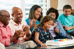 Famille multi de rétablissement célébrant l'anniversaire du descendant photo stock