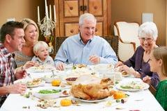 Famille multi de rétablissement célébrant le thanksgiving Photographie stock libre de droits