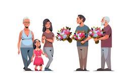 Famille multi heureuse de génération félicitant des femmes avec les hommes internationaux de concept de jour du 8 mars donnant de illustration libre de droits