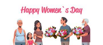 Famille multi heureuse de génération félicitant des femmes avec les hommes internationaux de concept de jour du 8 mars donnant de illustration stock