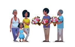 Famille multi heureuse de génération félicitant des femmes avec les hommes internationaux de concept de jour du 8 mars donnant l' illustration stock